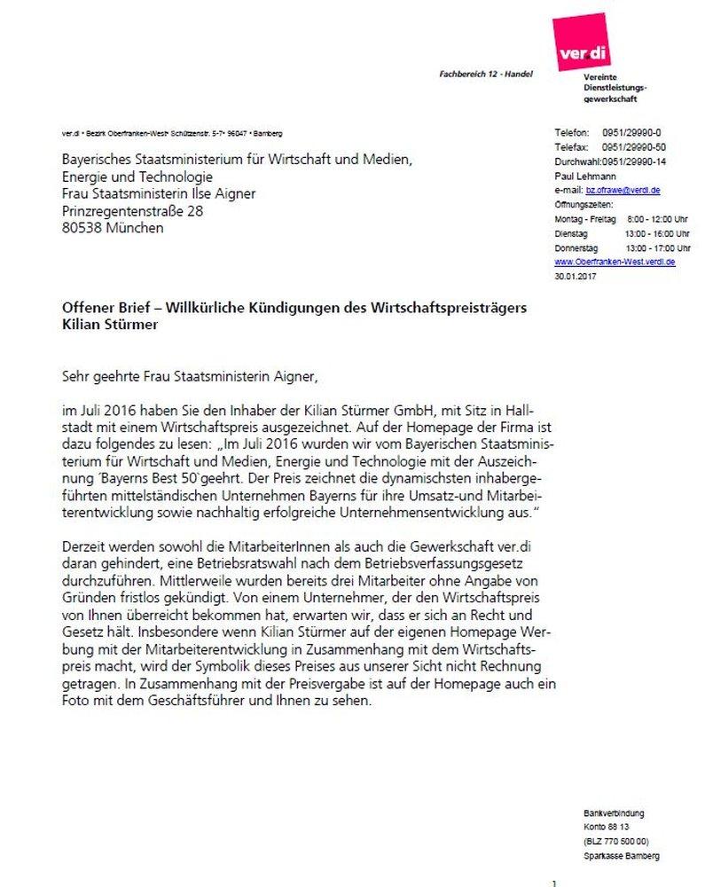 ver.di – Fristlose Kündigung wegen neuem Betriebsrat
